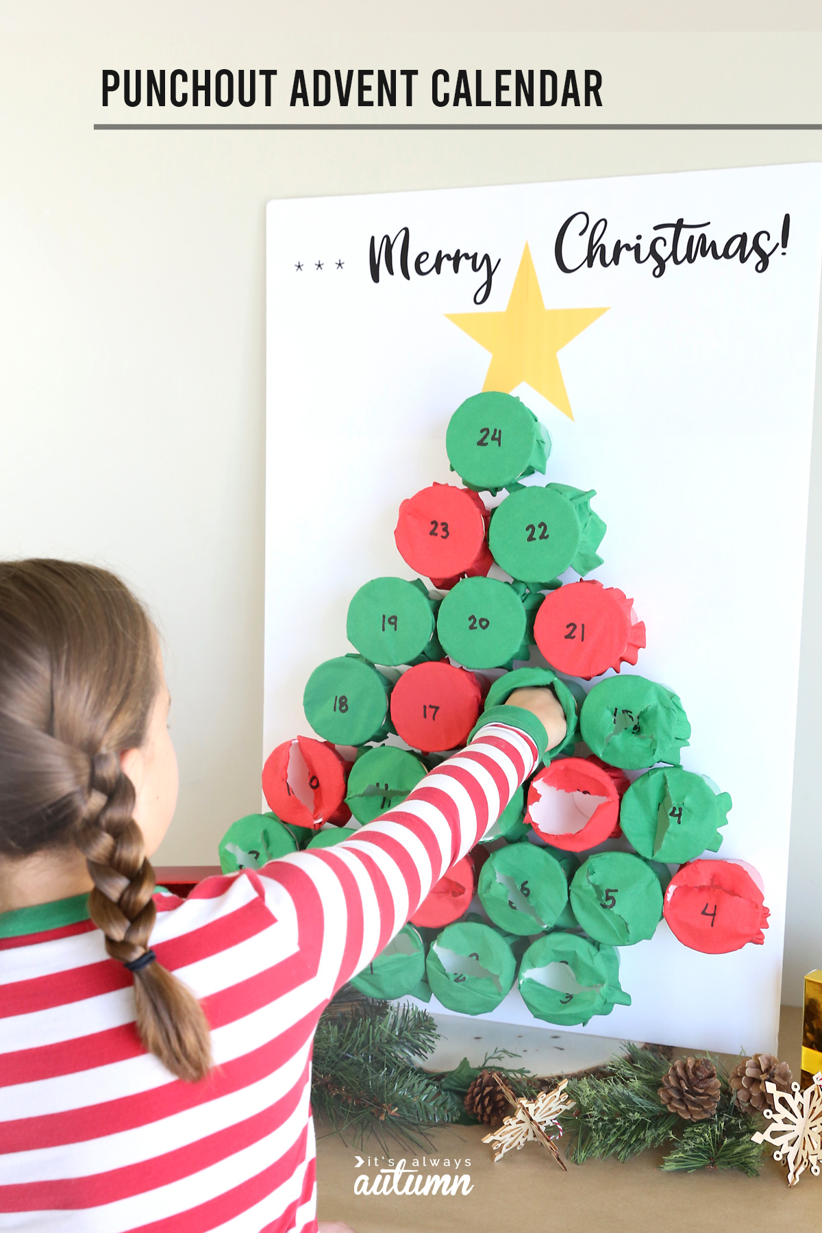 How to make a punchout Advent Calendar for Christmas