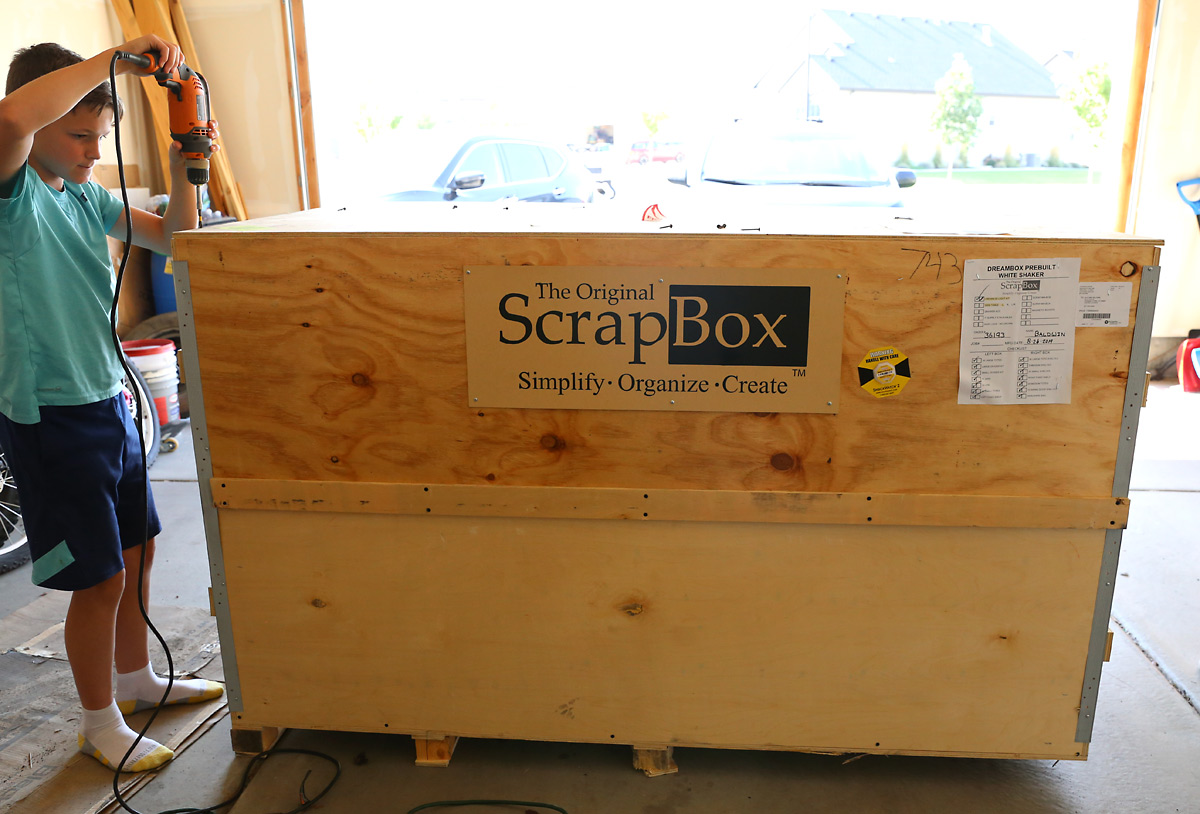 Very large box in a garage