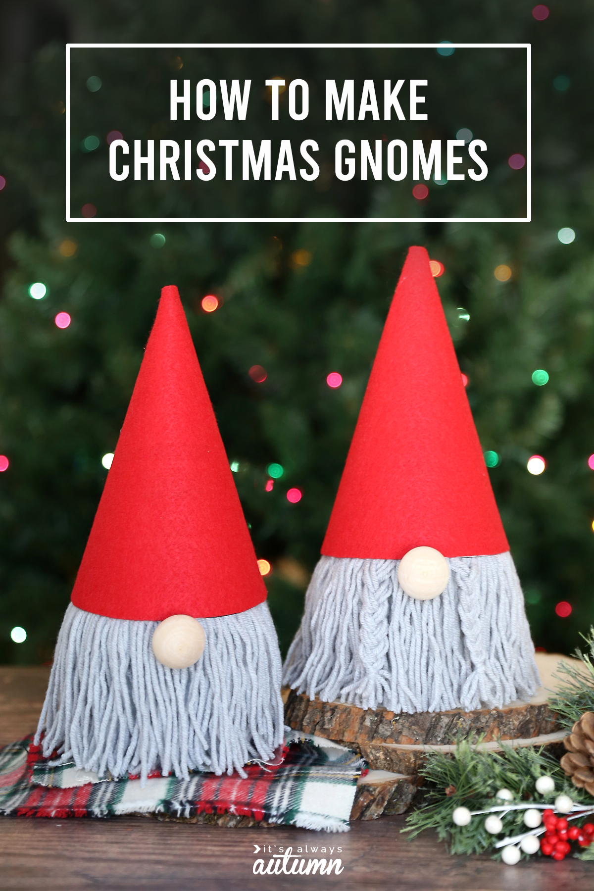 Christmas gnome craft made from toilet paper rolls