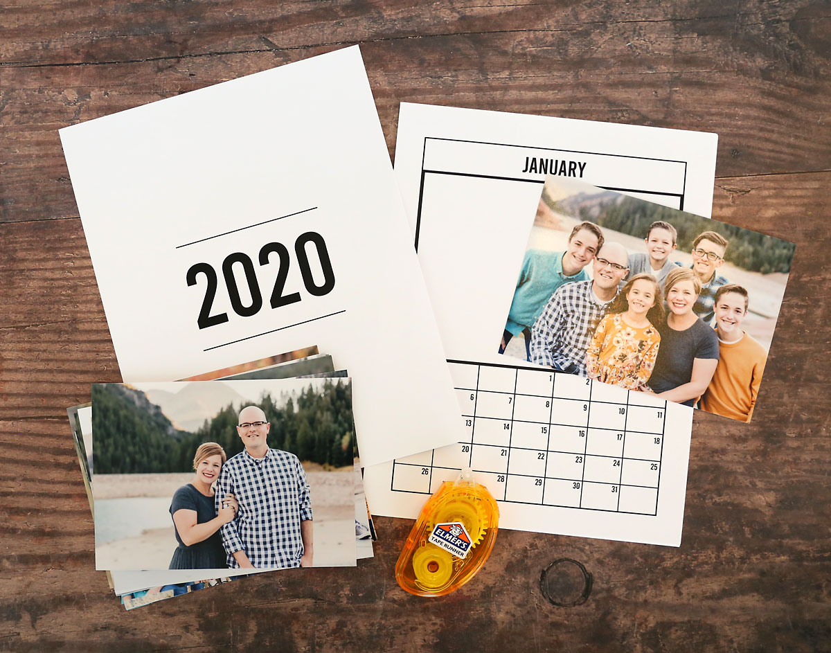 Printable 2020 photo calendar pages with photos and adhesive runner