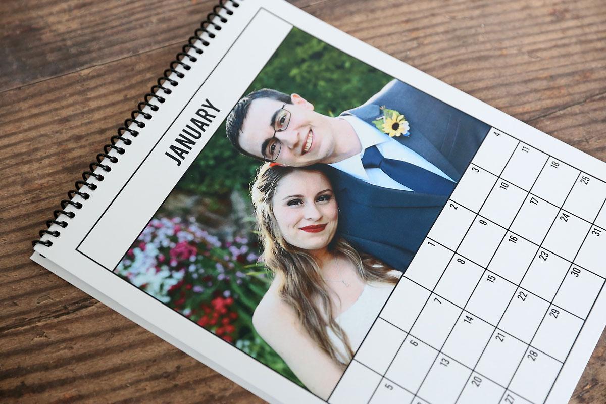 Printable photo calendar bound at the top