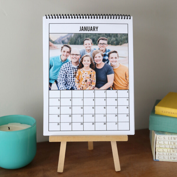 January calendar with family photo on it