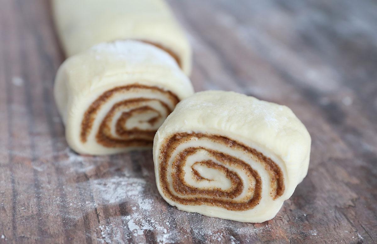 Sliced cinnamon roll dough