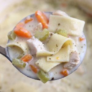 A soup ladle full of creamy chicken noodle soup