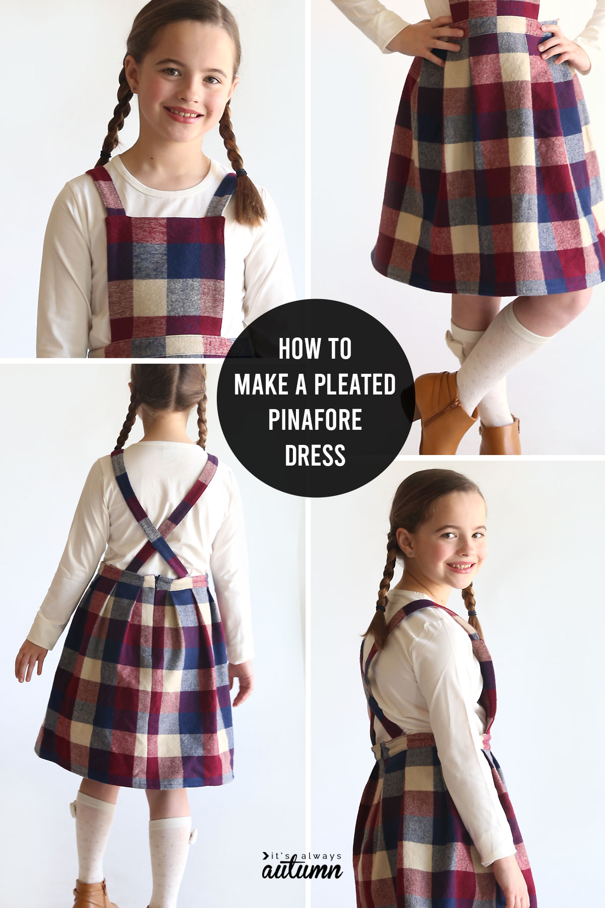 Learn how to create your own pinafore dress pattern and make a pinafore dress in any size!