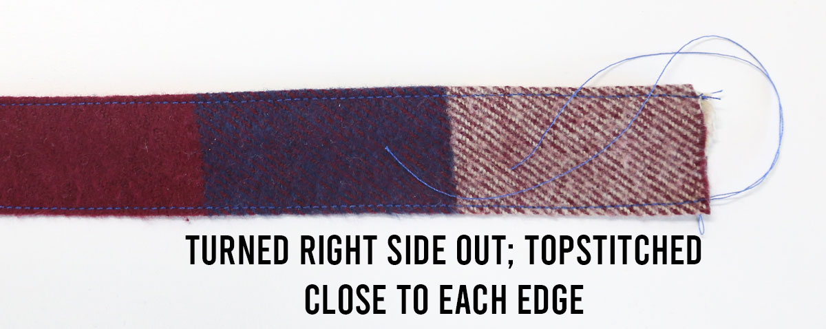 Strap turned right side out; topstitched close to each long edge