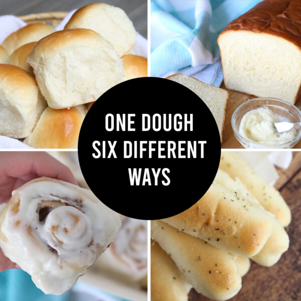 You can use this one basic bread dough to make six different things: dinner rolls, garlic breadsticks, cinnamon rolls, raspberry rolls, and more!