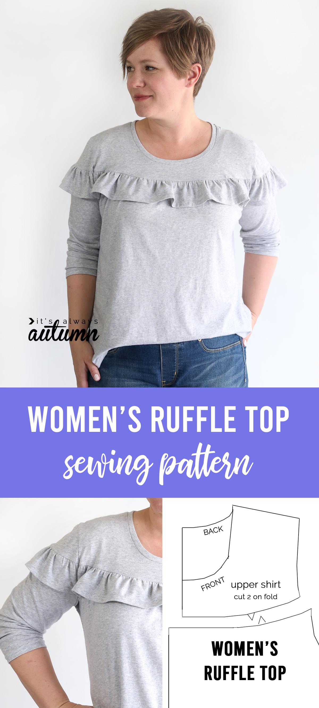 Women's ruffle top - free sewing pattern in size L