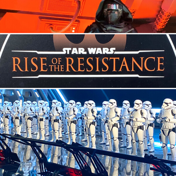 A group of Star Wars storm troopers standing in a room with words: Star Wars Rise of the Resistance