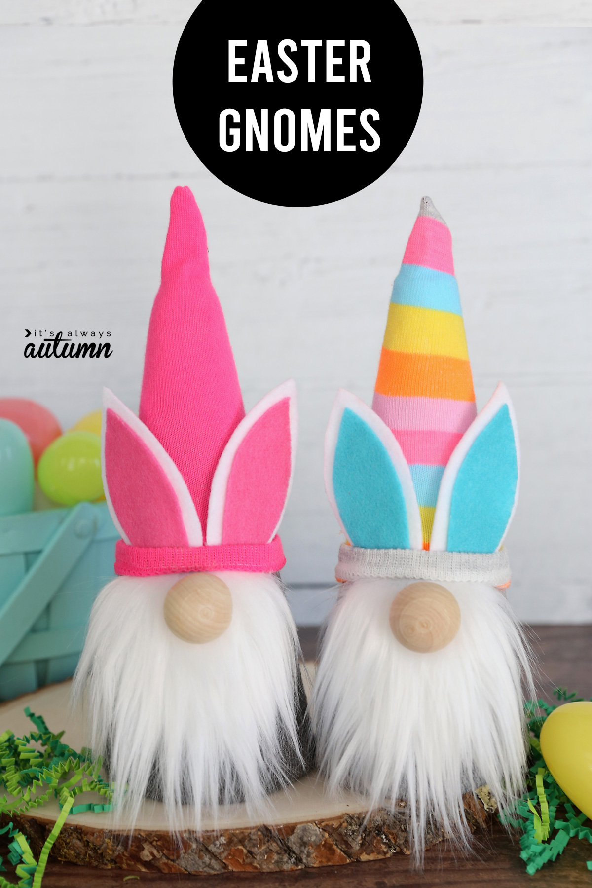 Two sock gnomes with Easter bunny ears and words: Easter gnomes