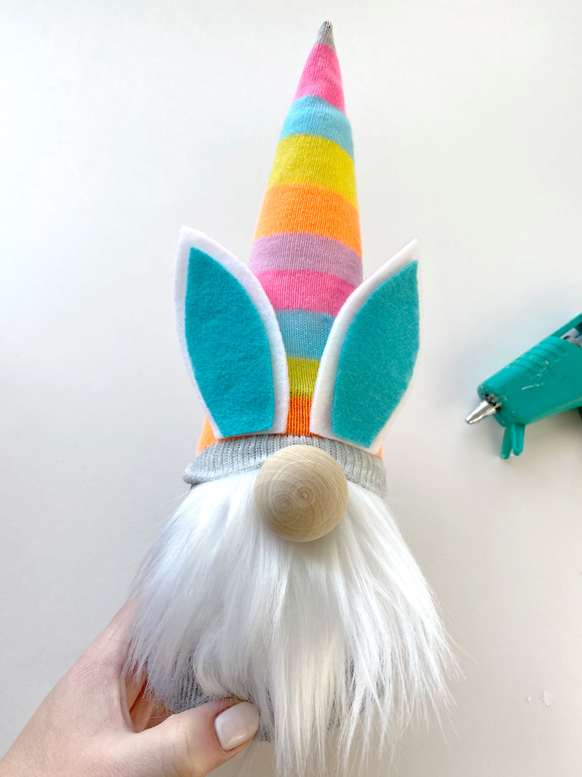 Glue on ears for Easter gnome