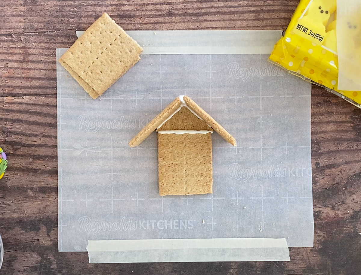 How to make a peeps house: attach roof pieces