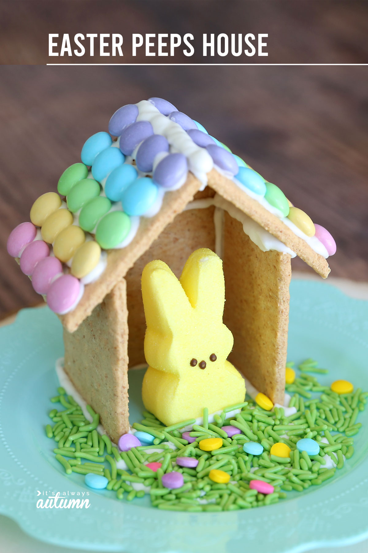 Easter gingerbread house made from graham crackers with Easter M&Ms decorating the roof, with an Easter bunny peep inside