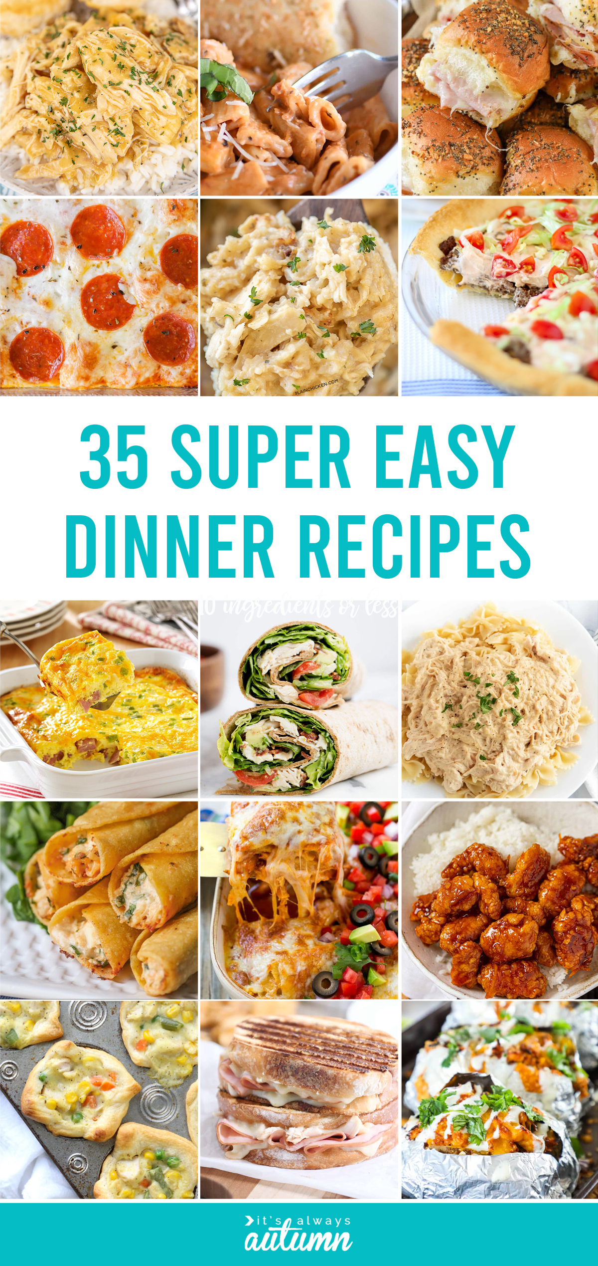 35 super easy dinner recipes - each of these simple dinner ideas uses 10 ingredients or less!
