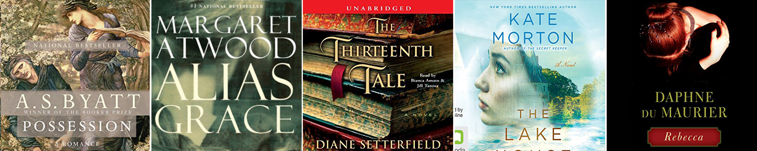 Book cover for the book The Thirteenth Tale with drawing of a stack of books