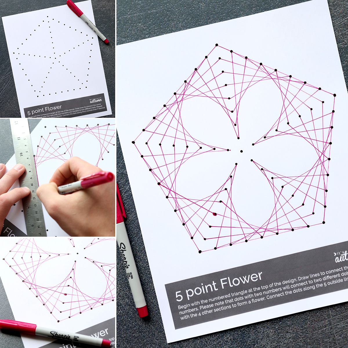 How to make a flower using dots and lines - geometric line art