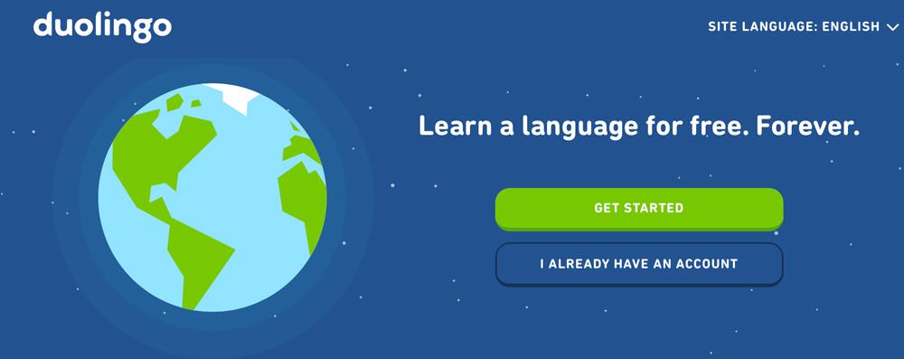 "Illustration of a globe on a blue background; \""learn a language\"" Duolingo"