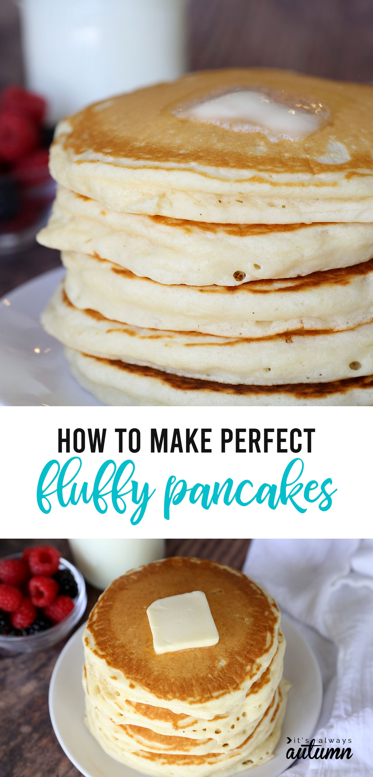 This is the PERFECT fluffy pancake recipe! It's super easy to mix up from pantry ingredients you have on hand, and they taste amazing!