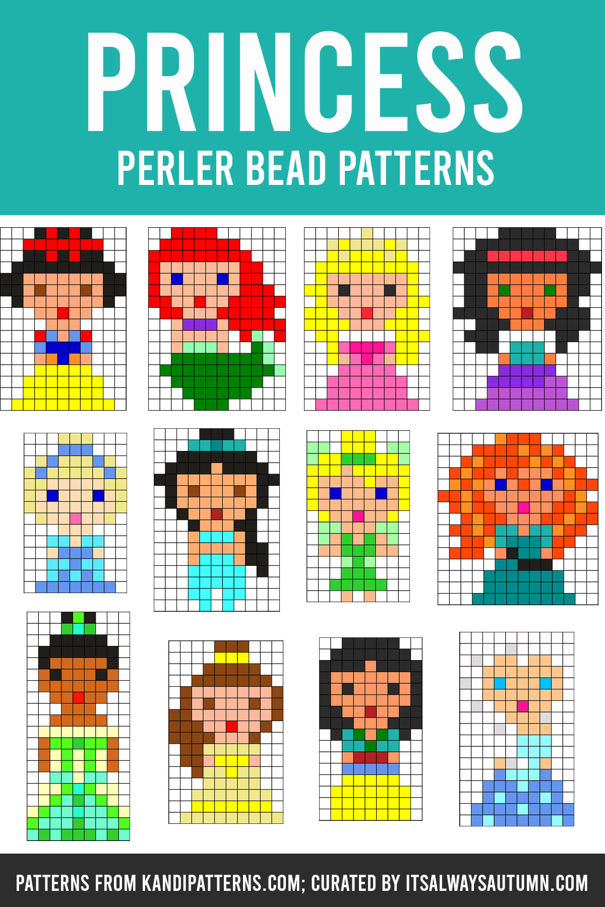 Disney princess Perler bead patterns