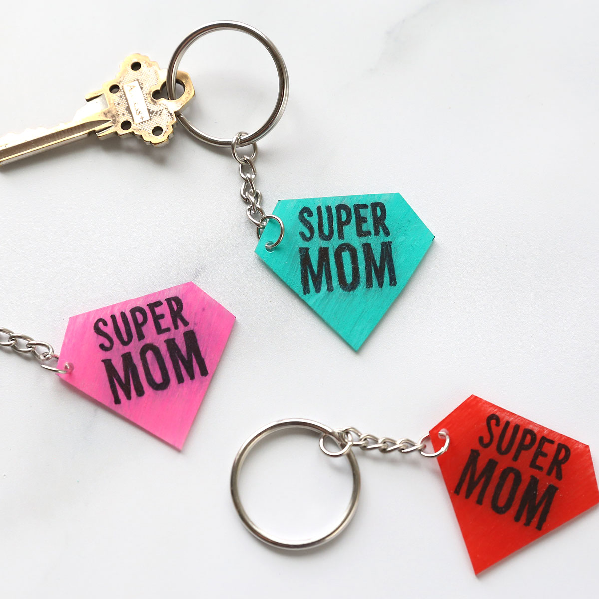 Super mom shrinky dink keychains