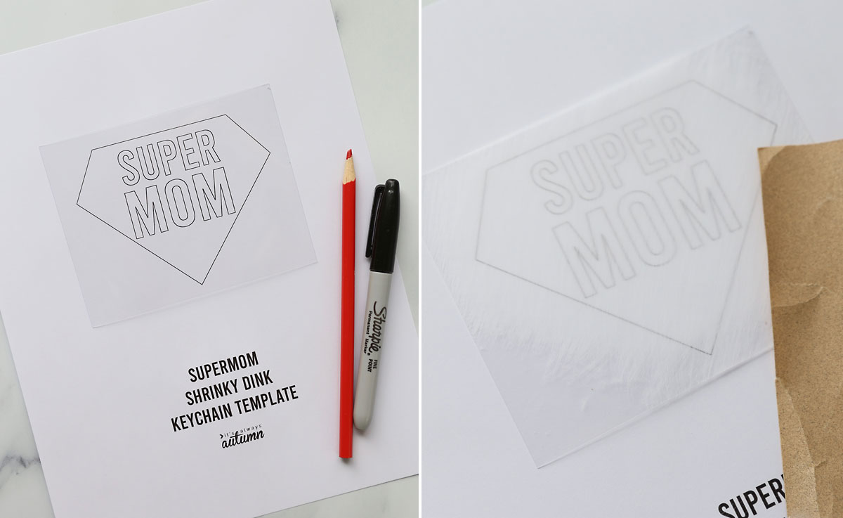 Printable supermom shrinky dink keychain template with a red colored pencil and black Sharpie