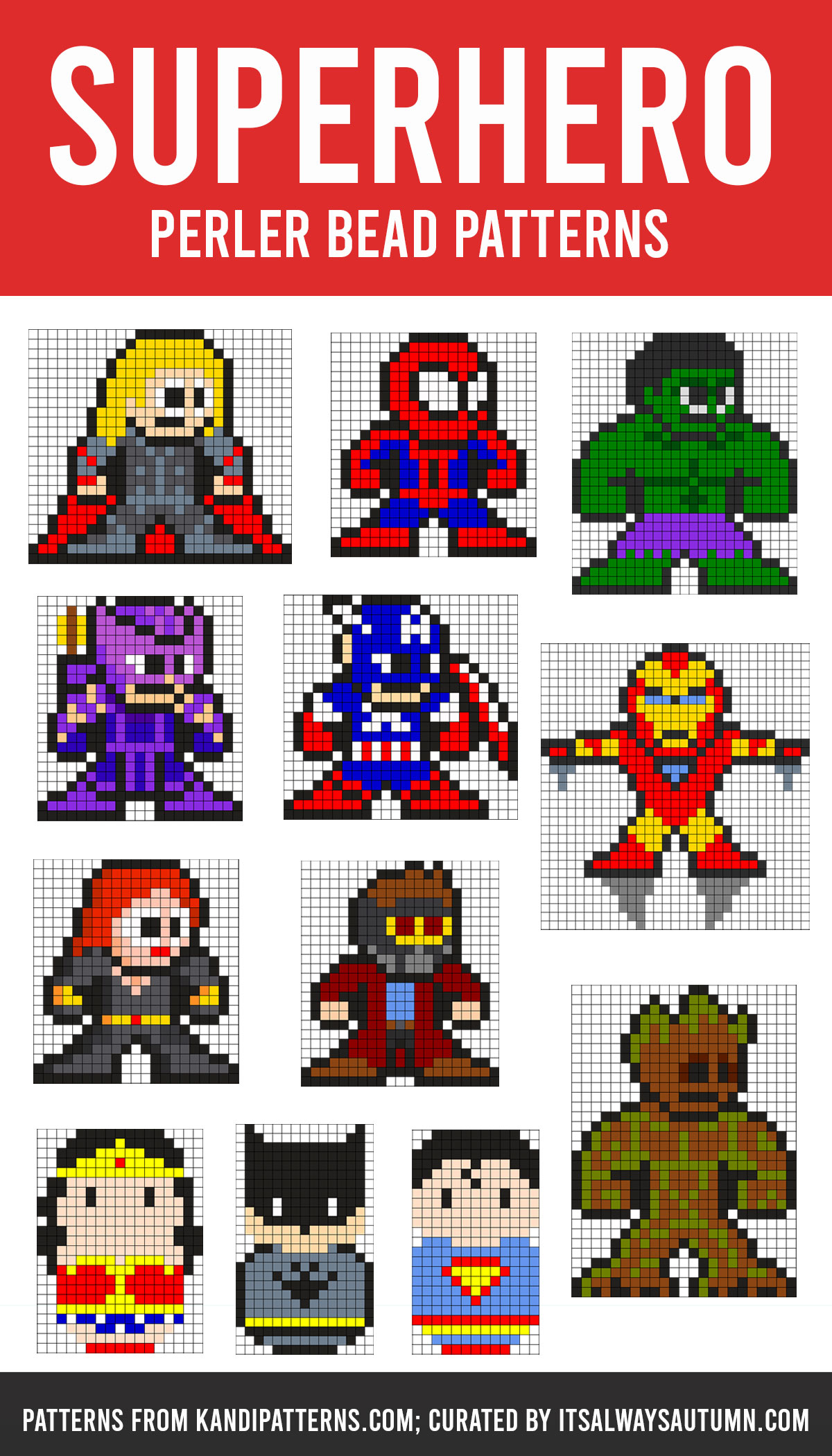Superhero Perler bead patterns; Marvel Perler bead patterns