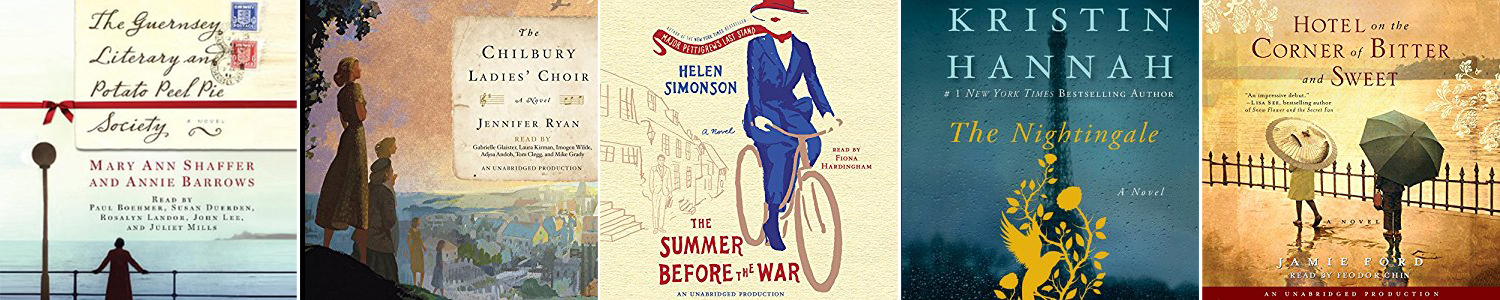 Book cover for the book The Summer Before the War with drawing of a woman on a bike