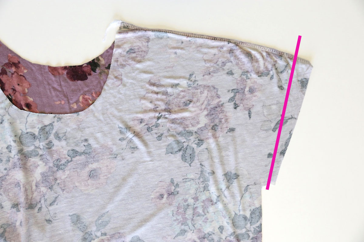 Flutter sleeve tee pattern: trim the sleeve length