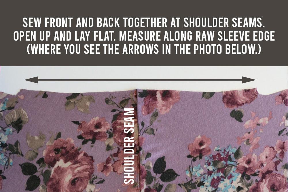 Flutter sleeve tee pattern: Measure along raw sleeve edge