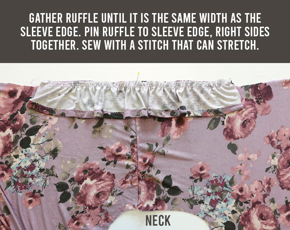 Flutter sleeve tee pattern: gather ruffle until it is the same width as the sleeve edge
