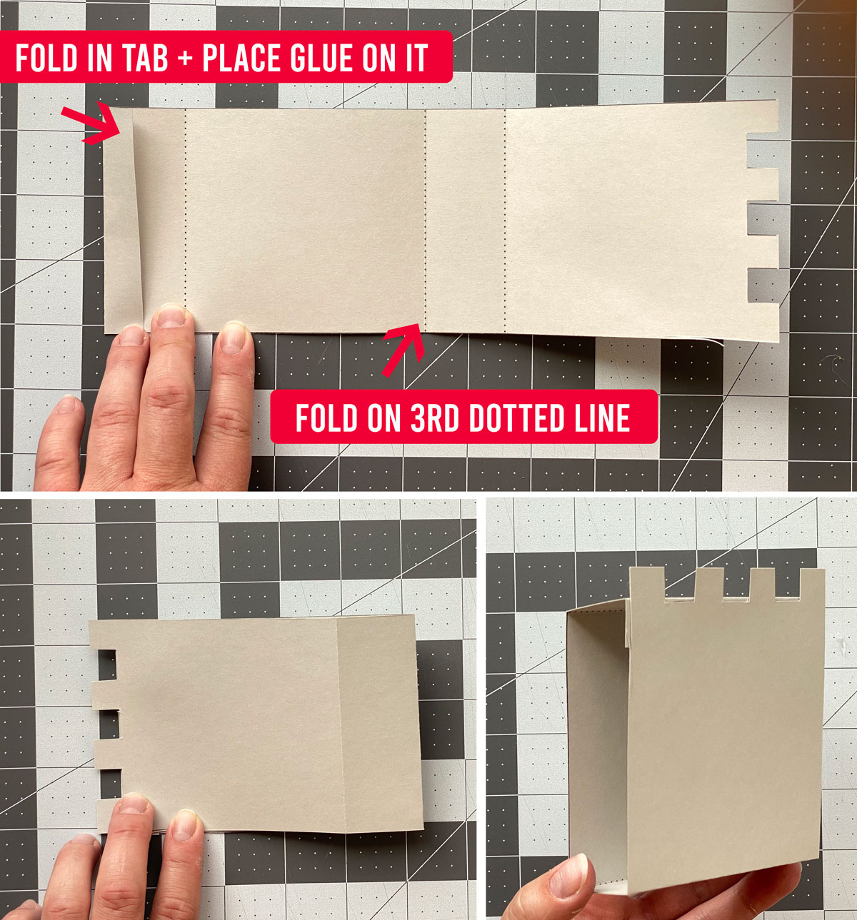 Paper castle template: fold on the dotted lines