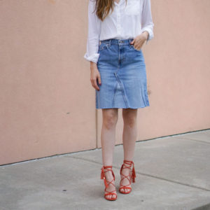 Skirt made from a pair of jeans
