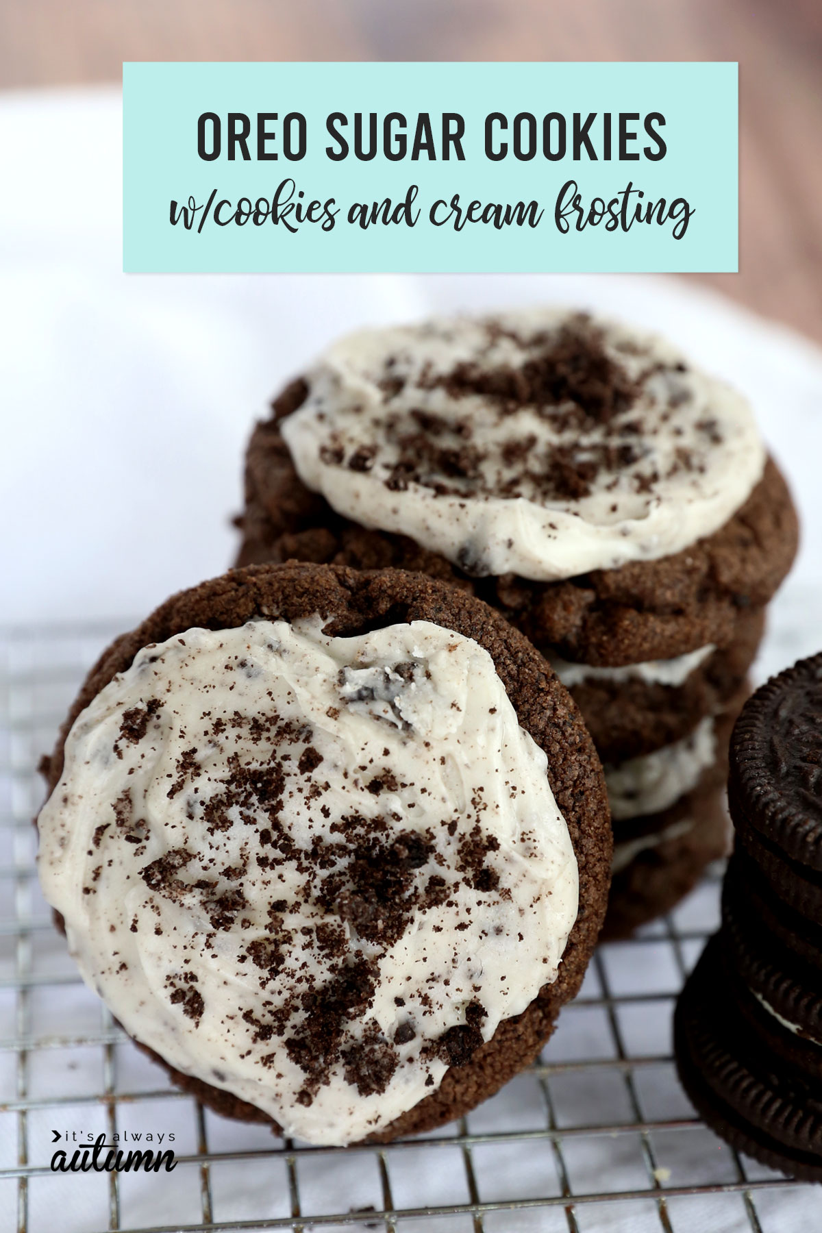 Oreo Sugar Cookies with Cream Cheese Frosting