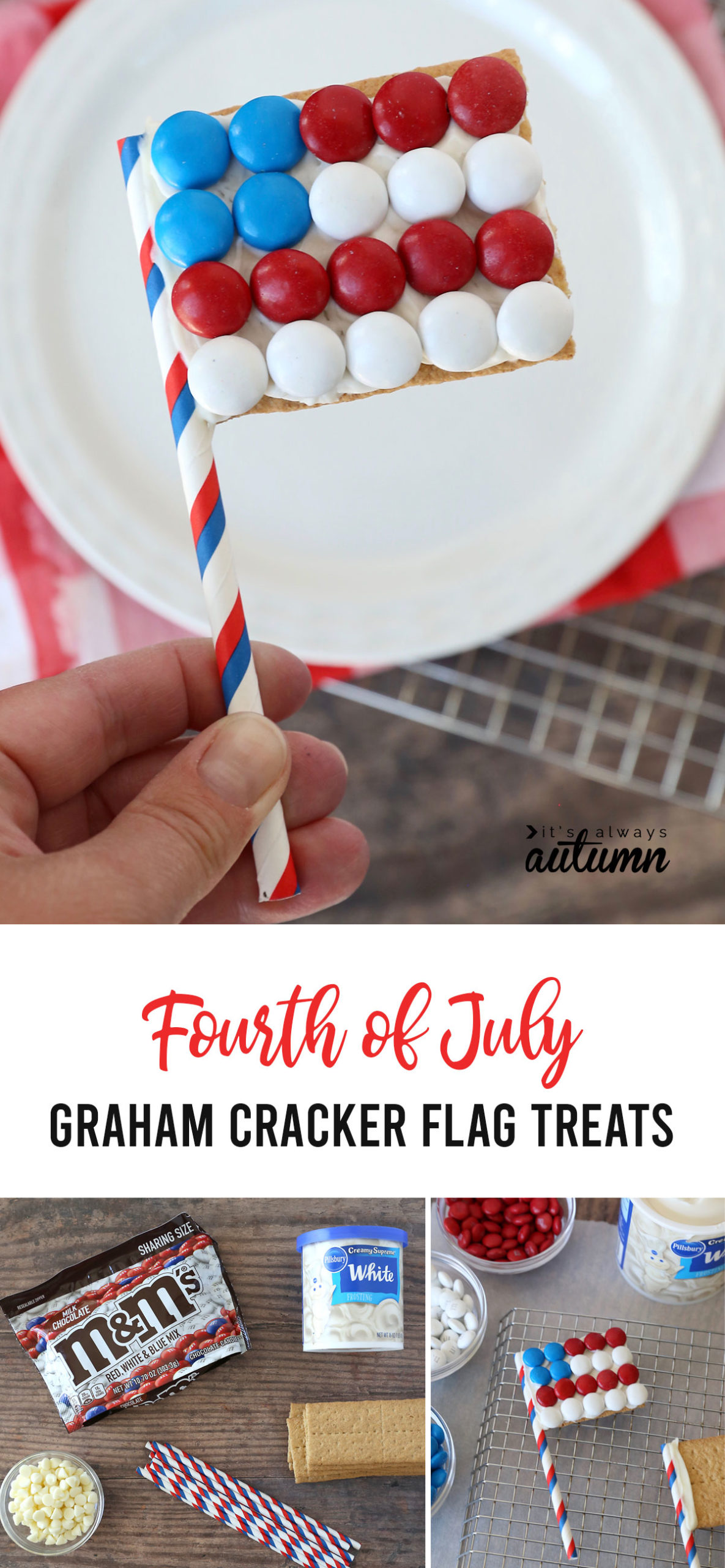 Collage: hand holding a graham cracker decorated like an American flag; photo of supplies - M&Ms, graham crackers, frosting, paper straws, and white chocolate chips