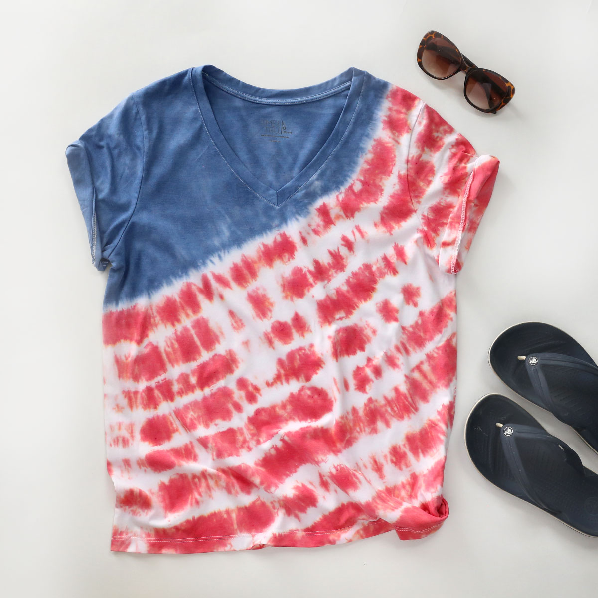 Red white and blue tie dye shirt for the Fourth of July