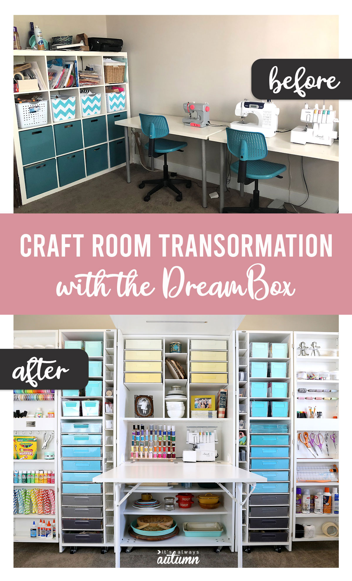 The DreamBox craft room organization + storage system BEFORE and AFTER