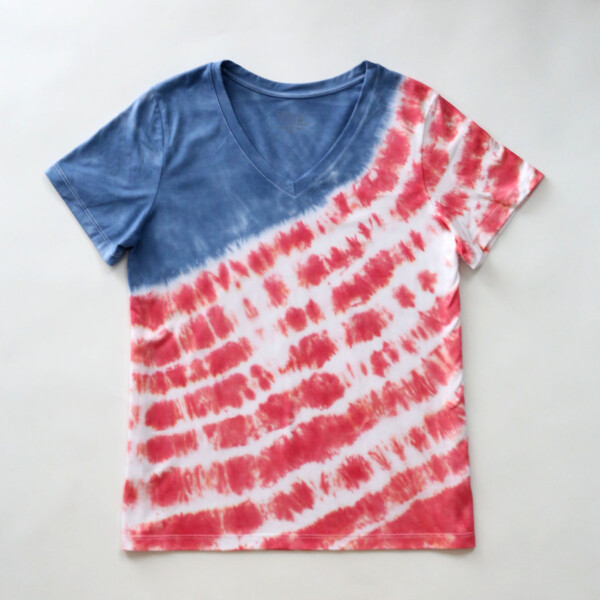 A t-shirt tie dyed to looks like the American flag