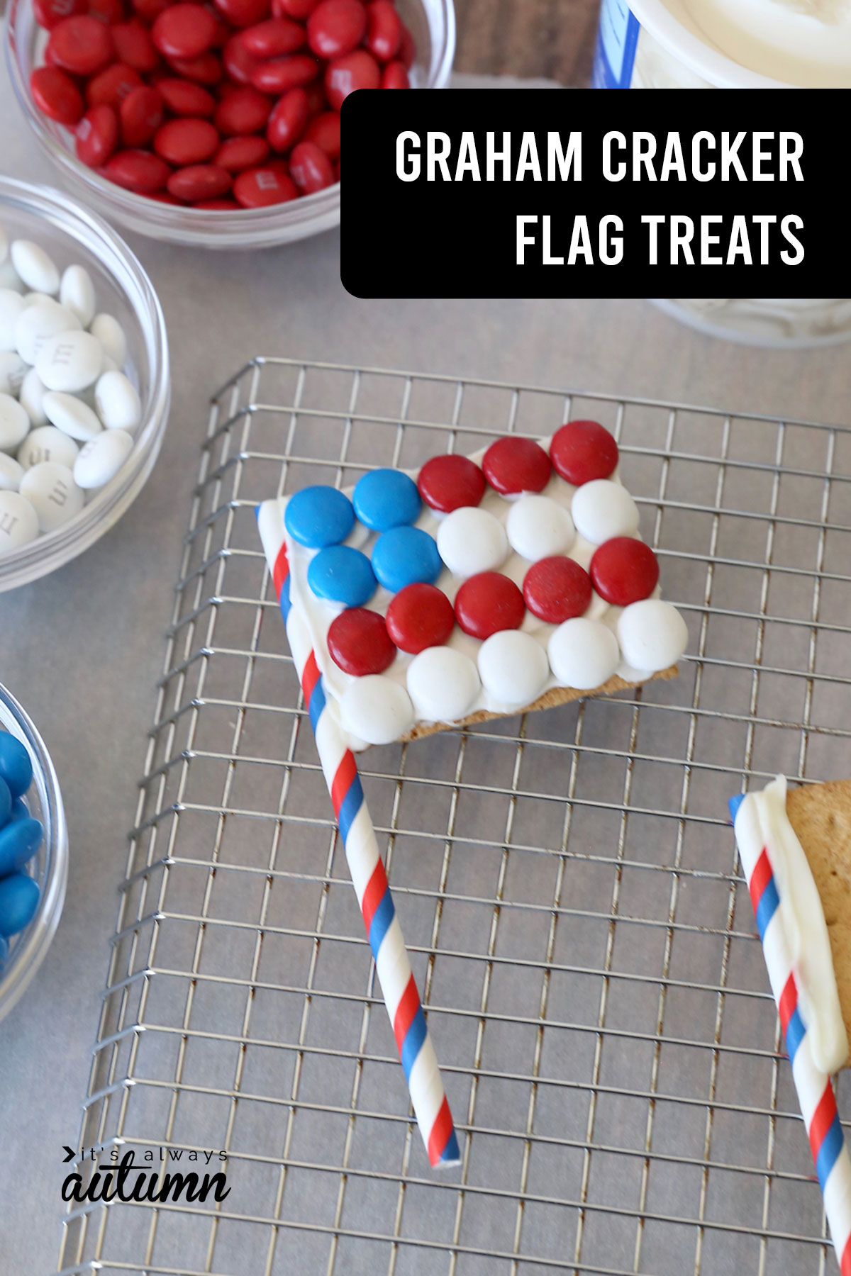 Graham cracker flags are an easy 4th of July treat that kids can make!
