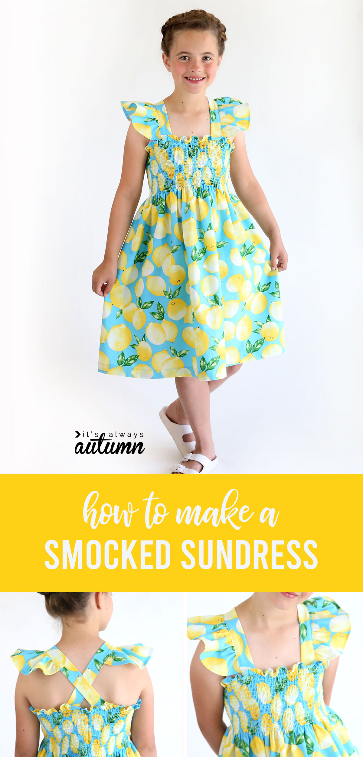 Easy sewing tutorial for this adorable smocked sundress