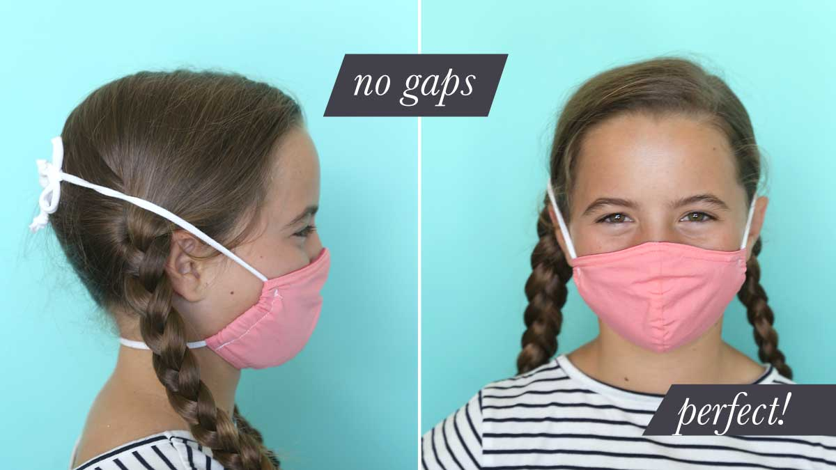 Girl wearing fabric face mask with ties behind the head that fits perfectly