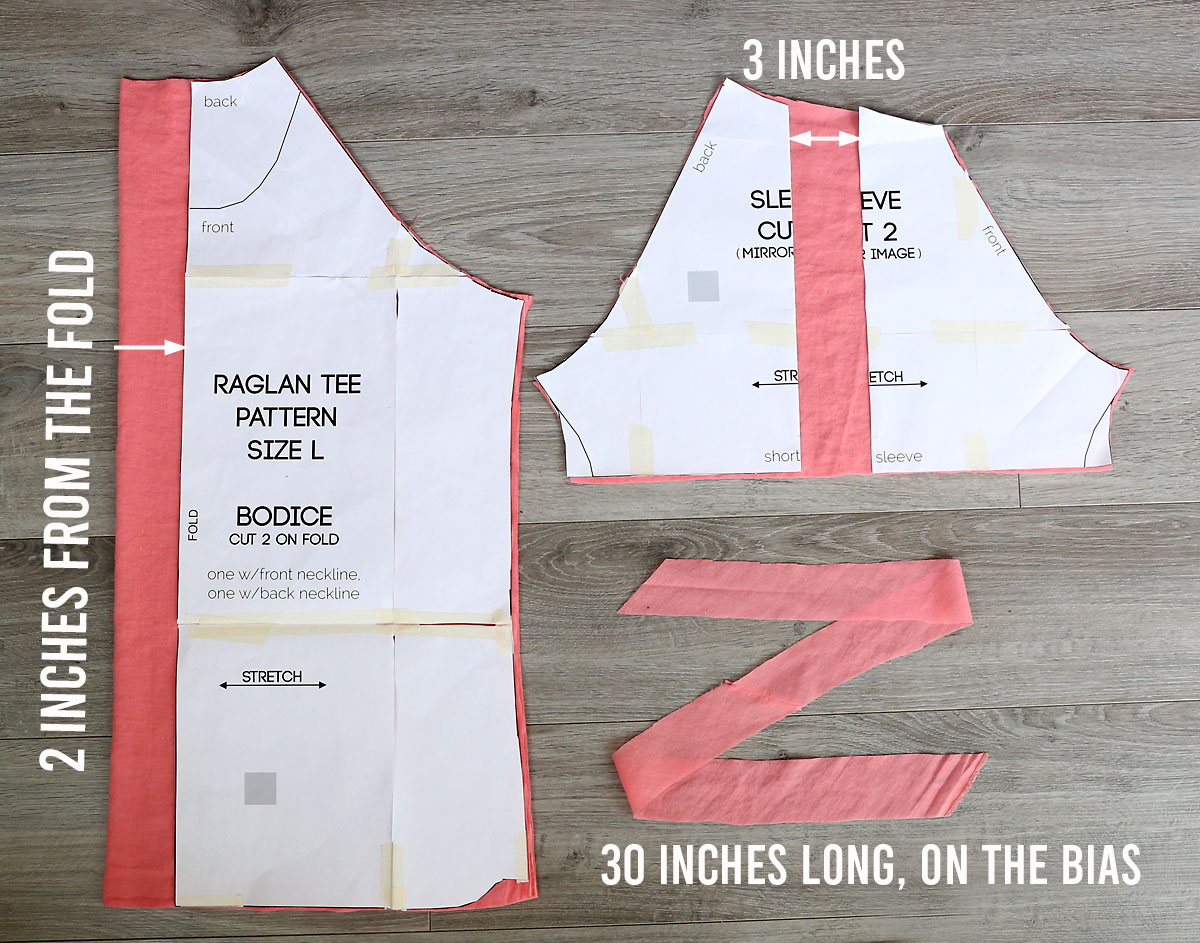 How to cut pattern pieces for a gathered raglan blouse