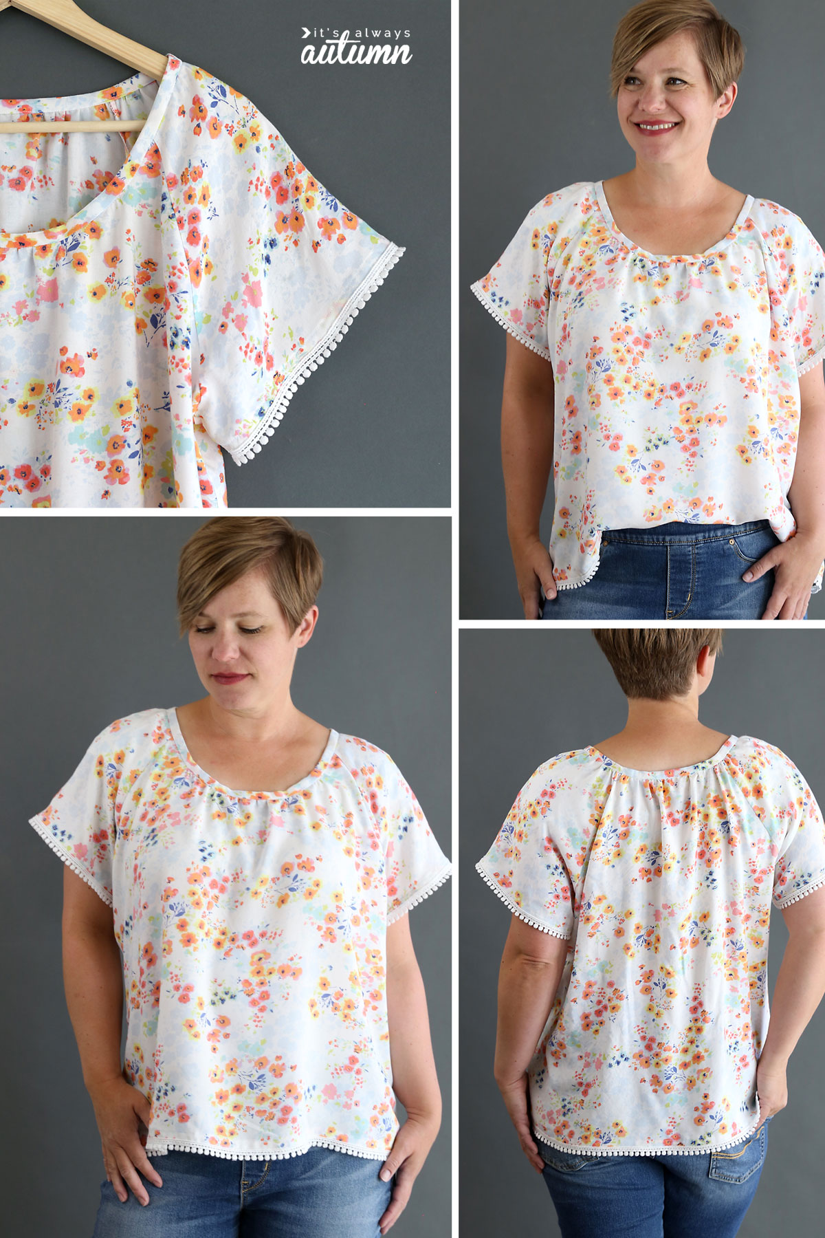Learn how to sew a pretty gathered raglan blouse with this sewing tutorial and pattern