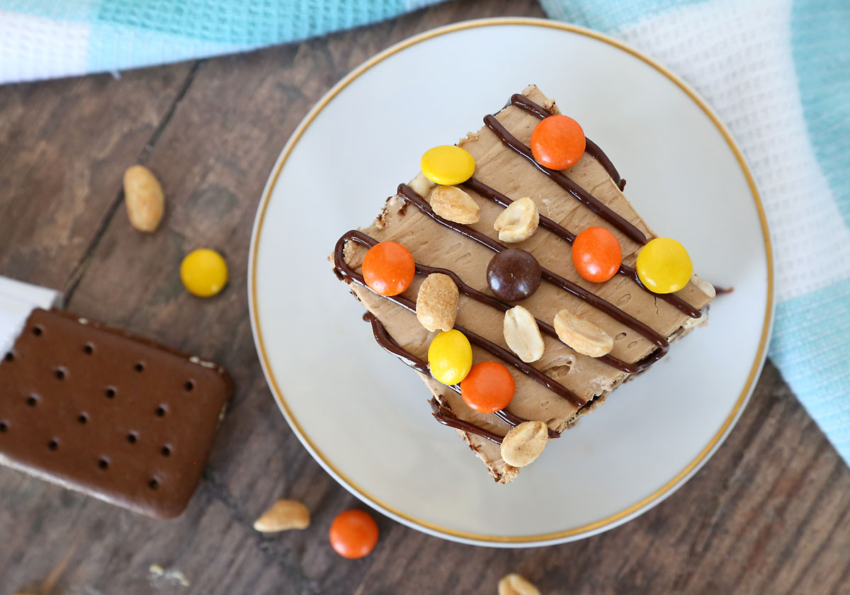 The top of a piece of peanut butter ice cream cake, with hot fudge, peanuts, and Reese\'s pieces