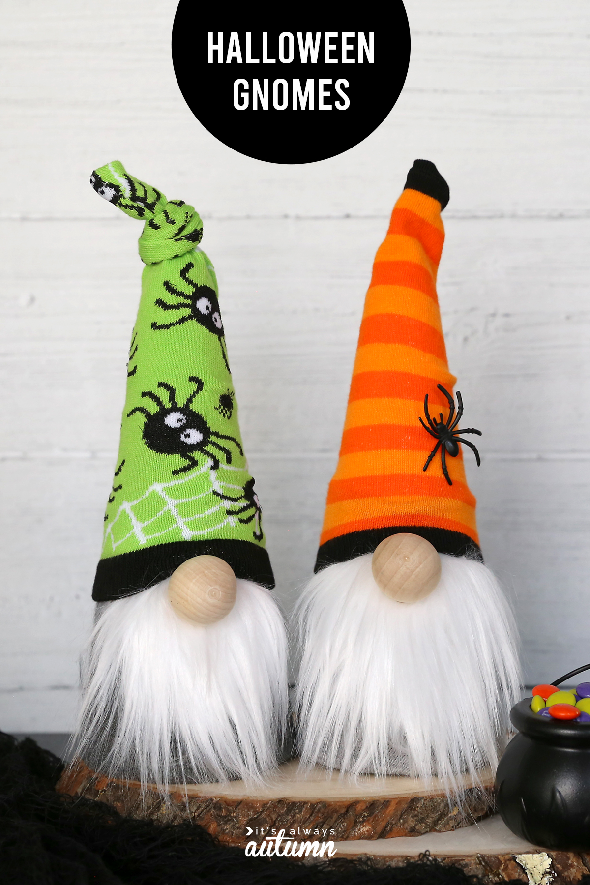 Halloween sock gnomes are made from a cute pair of socks and a craft cone.