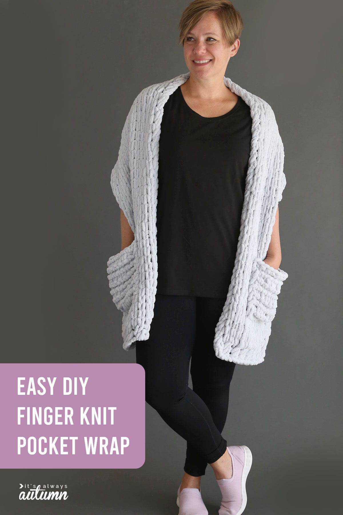 Easy DIY finger knit wrap with pockets