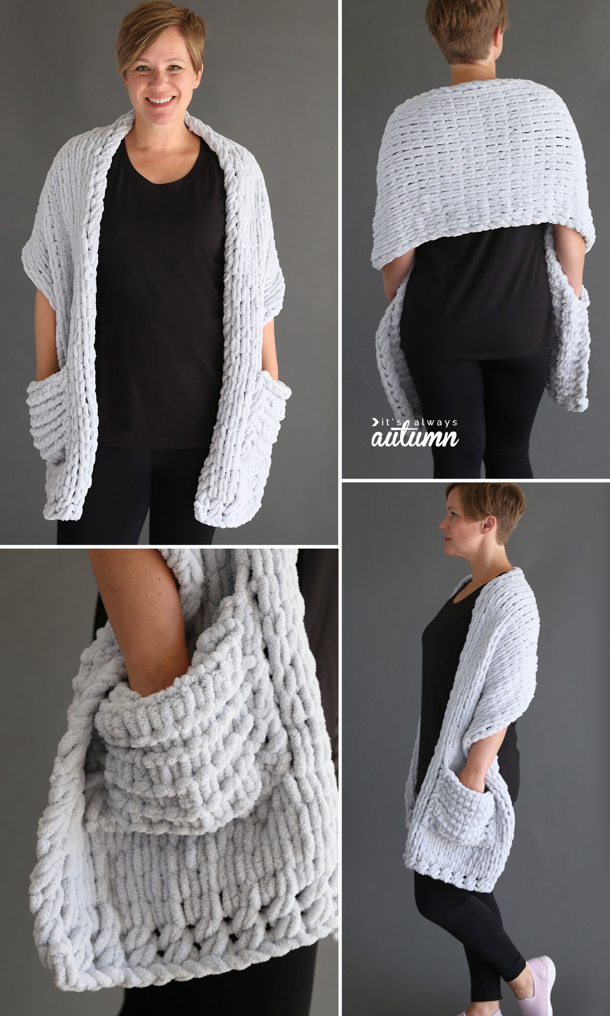 A collage photo of a woman wearing a cozy pocket wrap; a light grey shawl with pockets made from loop yarn