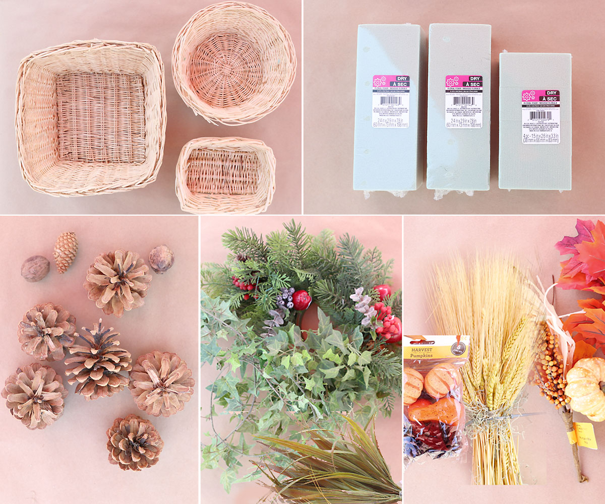 Supplies: 3 baskets, floral foam, pinecones, greenery, fall accents