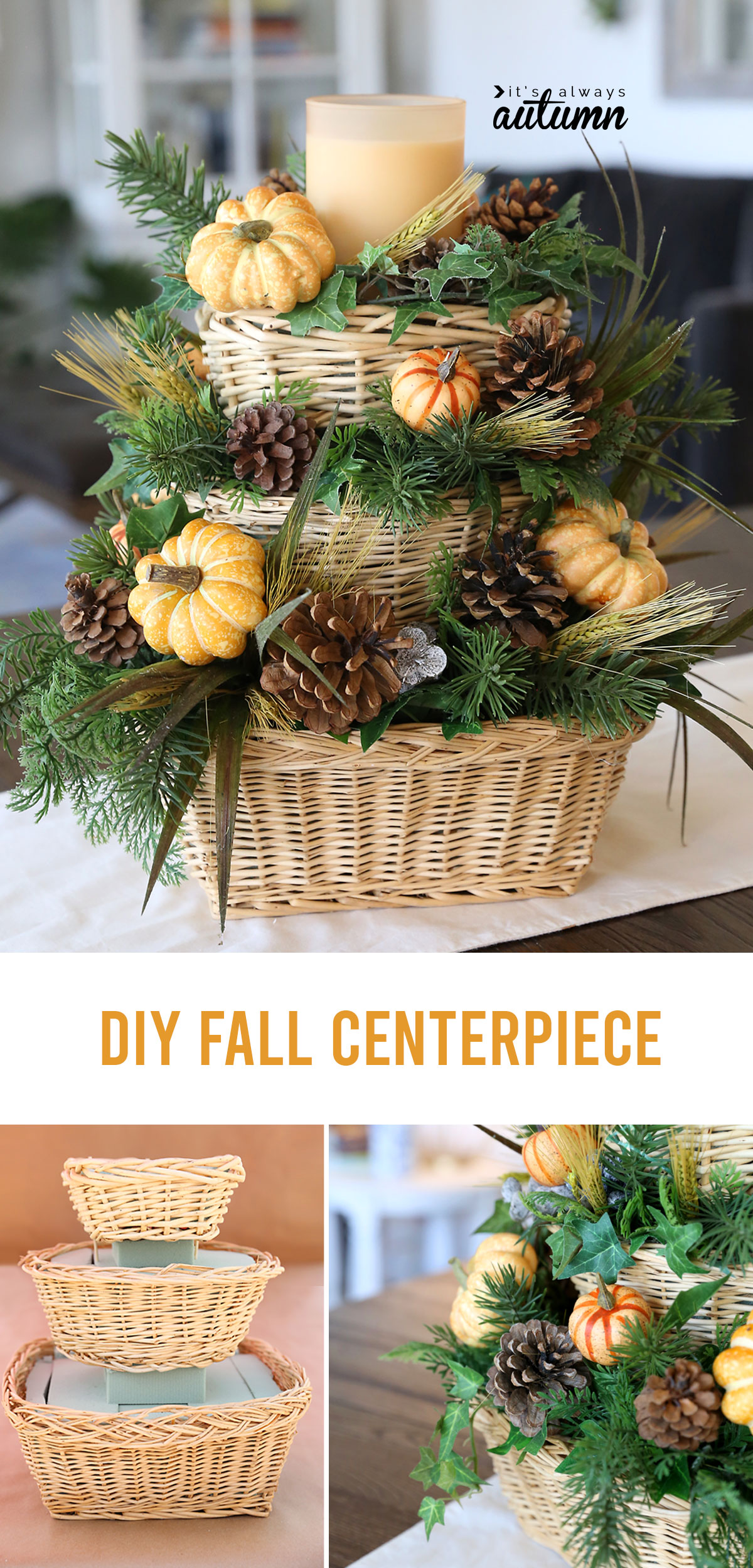 This beautiful DIY fall centerpiece can be made with items from the thrift store for about $25!