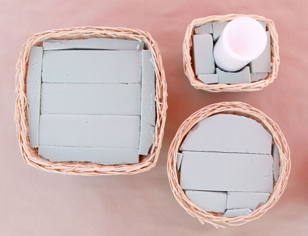 Baskets full of floral foam