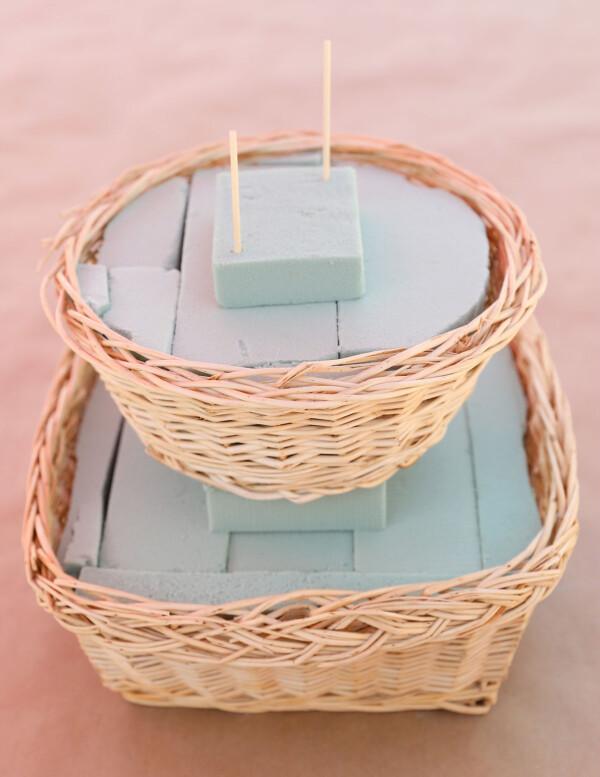 Medium basket stacked on top of large basket